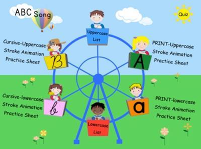 大文字、小文字、筆記体、すべてが学べる幼児用英語アプリ1