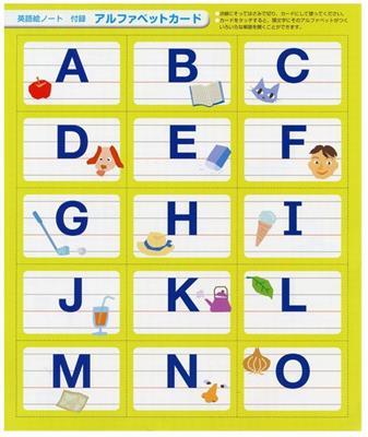 Hi,friends! 1 英語絵ノート アルファベットカード