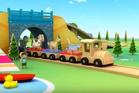 幼児英語3Dアニメ動物列車