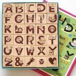 アルファベットの動物文字スタンプ