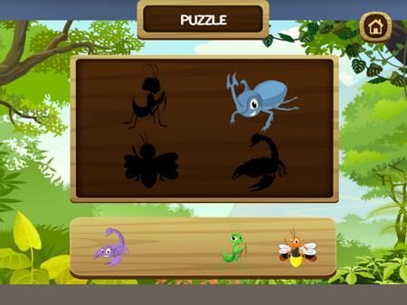 英語で虫のパズルゲーム