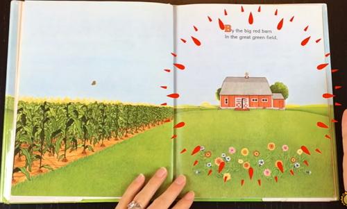 広い農場の大きな赤い納屋